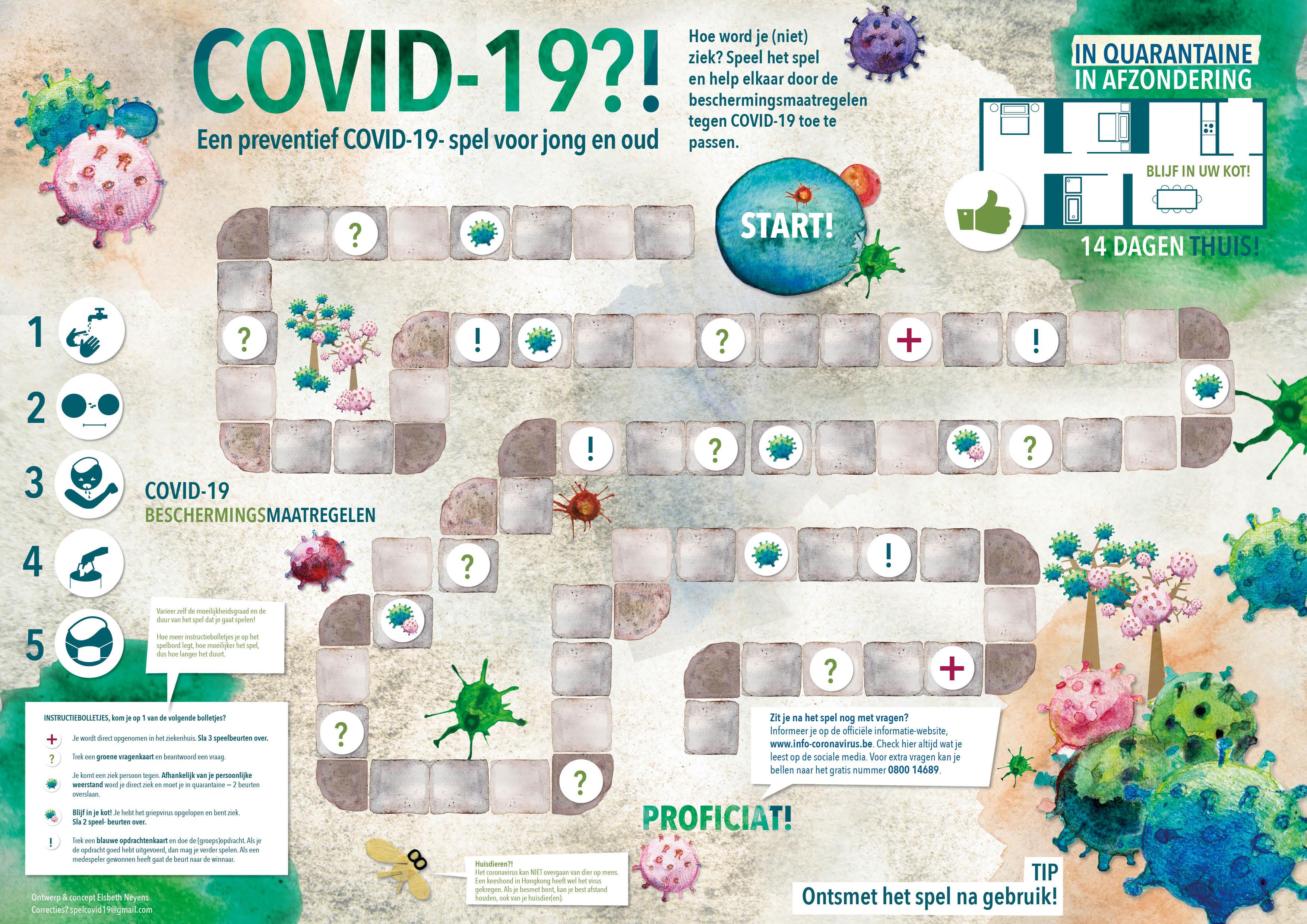 spel COVID-19 spelbord A2 Elsbeth Neyens Spelbord COVID-19